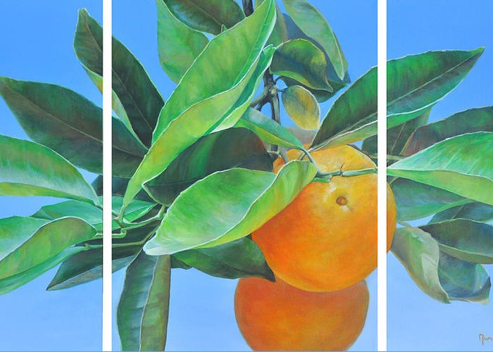 Acrylic Painting Greeting Card featuring the painting Triptyque Orange by Muriel Dolemieux