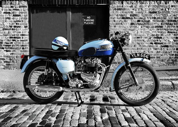 Triumph Bonneville Greeting Card featuring the photograph Triumph Bonneville T120 by Mark Rogan