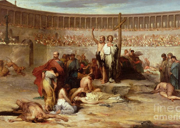 Coliseum; Colosseum; Audience; Spectators; Martyrdom; Execution; Public; Christianity; Persecution; Cross; Christians; Slaughter; Thrown To The Lions; Lion; Roman; Followers Of Christ; New Religion; Martyr; Ancient Rome Greeting Card featuring the painting Triumph Of Faith  Christian Martyrs In The Time Of Nero by Eugene Romain Thirion