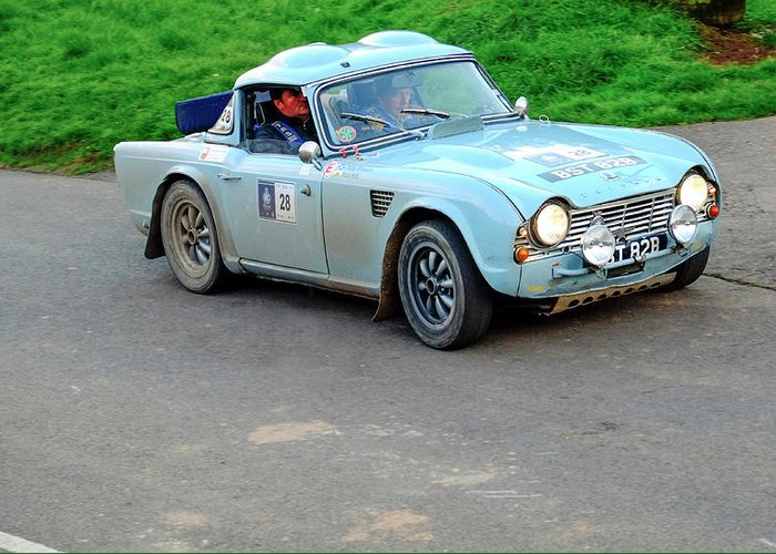 Triumph Tr4 Rally Car Greeting Card For Sale By Adrian Beese