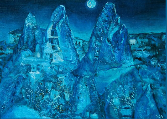 Landscape Greeting Card featuring the painting Troglodyte Village by Aymeric NOA