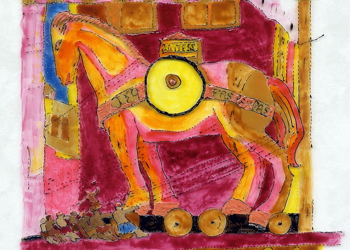 Horse Greeting Card featuring the painting Trojan Horse by Phil Strang