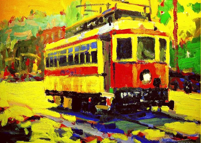 Cityscape Greeting Card featuring the painting Trolley by Brian Simons