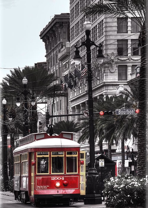 Nola Greeting Card featuring the photograph Trolley On Bourbon And Canal by Tammy Wetzel