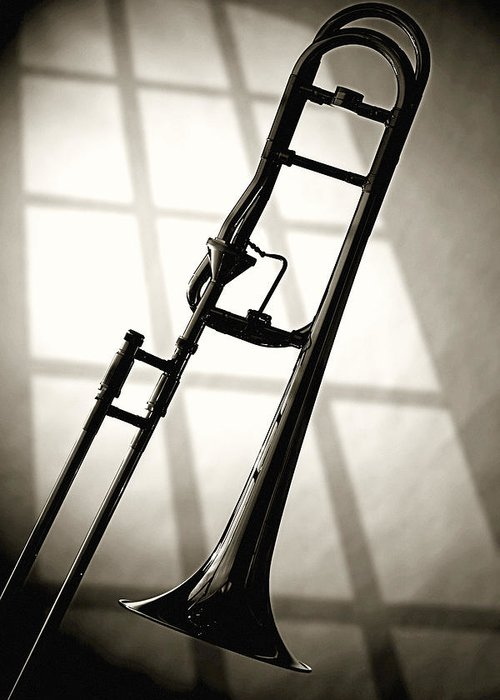 Trombone Greeting Card featuring the photograph Trombone Silhouette And Window by M K Miller
