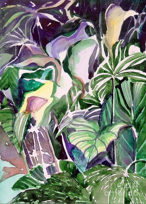 Botanicals Greeting Card featuring the painting Tropic Lights by Mindy Newman