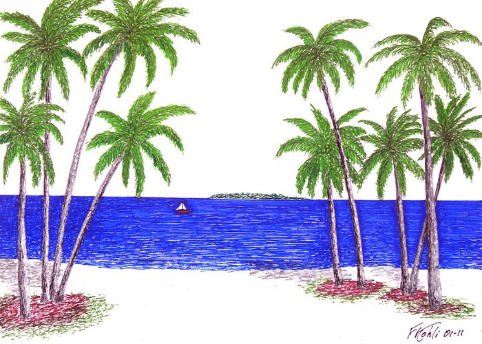 Pen And Ink Tropical Beach Drawing Greeting Card featuring the drawing Tropical Beach by Frederic Kohli