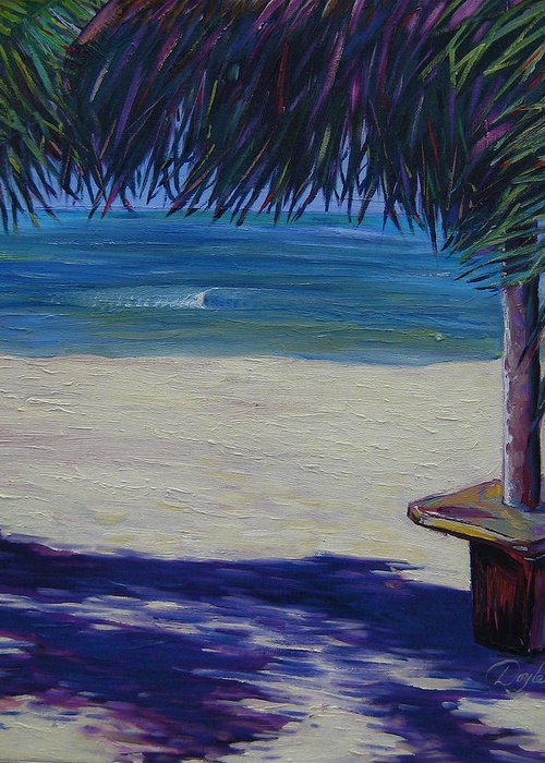 Ocean Greeting Card featuring the painting Tropical Beach Shadows by Karen Doyle