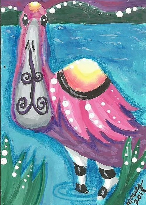 Roseate Spoonbill Greeting Card featuring the painting Tropical Bird by Monica Resinger