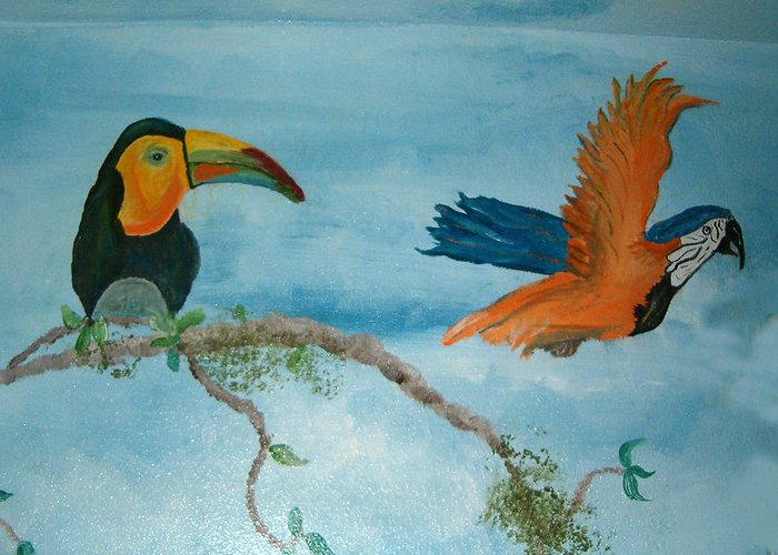 Tropical Birds Greeting Card featuring the painting Tropical Birds by Mikki Alhart