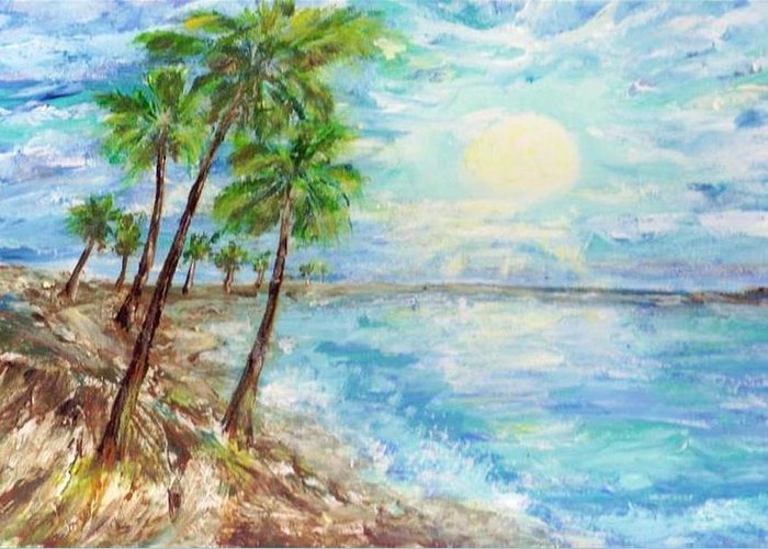 Mary Sedici Greeting Card featuring the painting Tropical Blue by Mary Sedici