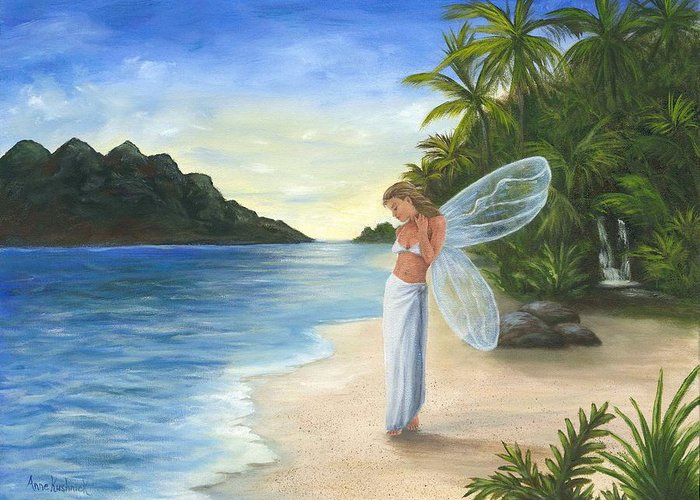 Fairy Greeting Card featuring the painting Tropical Fairy by Anne Kushnick