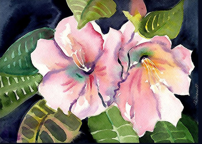 Tropical Greeting Card featuring the painting Tropical Flowers by Janet Doggett