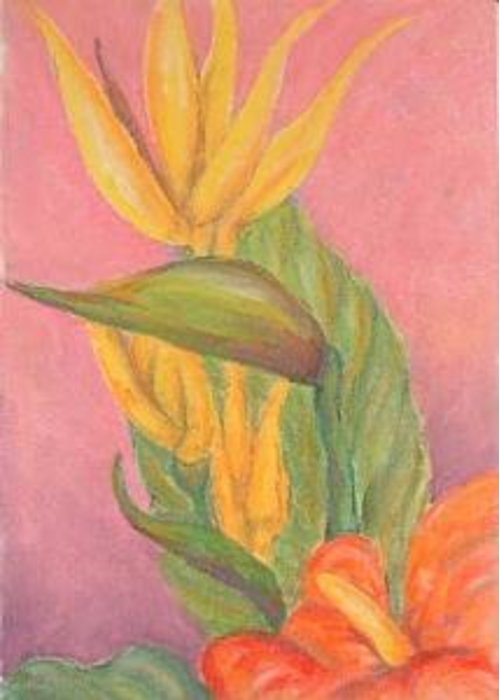 Tropical Flowers Greeting Card featuring the drawing Tropical Flowers by Ladonna Idell