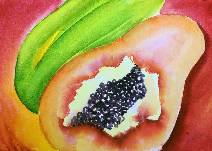 Tropical fruit series papaya greeting card for sale by kathy sturr papaya greeting card featuring the painting tropical fruit series papaya by kathy sturr m4hsunfo