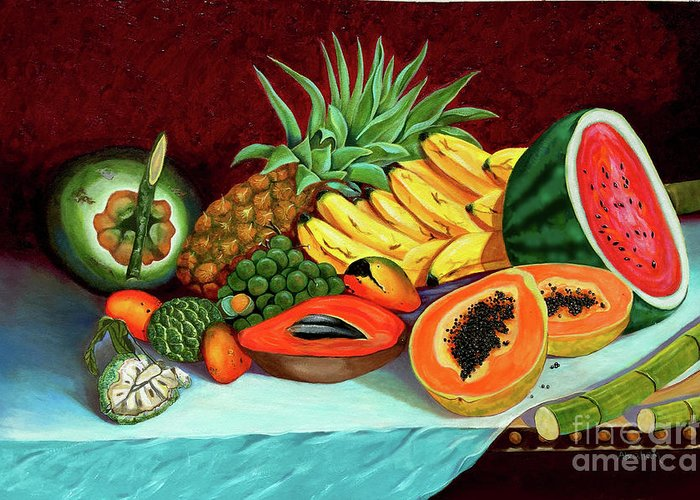 Coconut Greeting Card featuring the painting Tropical Fruits by Jose Manuel Abraham