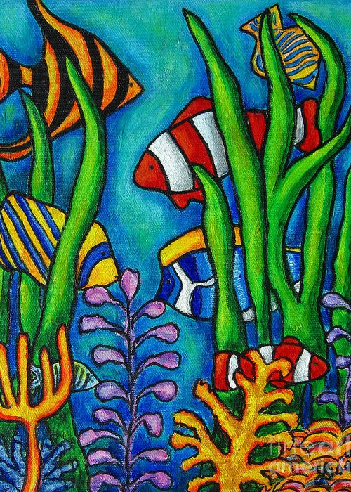 Tropical Greeting Card featuring the painting Tropical Gems by Lisa Lorenz