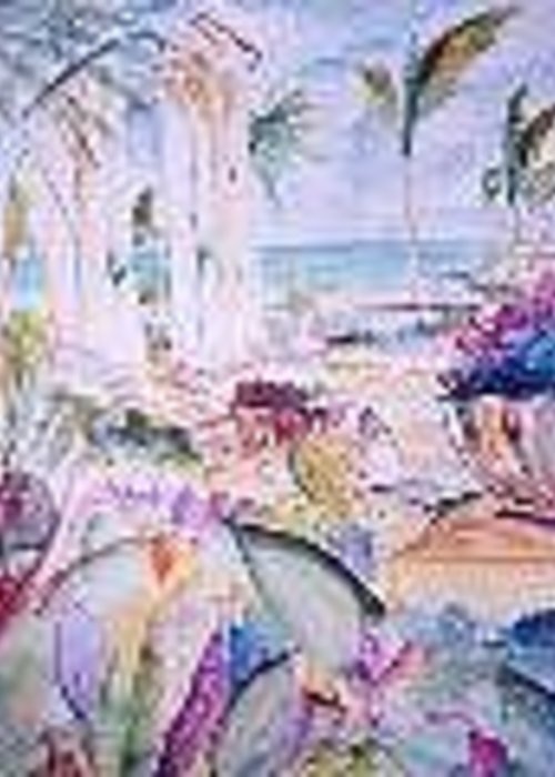 Fantasy Greeting Card featuring the painting Tropical Getaway by Impressionist FineArtist Tucker Demps Collection