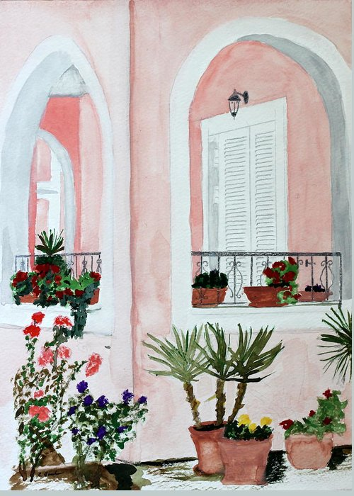 Home Tropical Island Southern Shutters Porch Plants Palms Flowers Greeting Card featuring the painting Tropical Home by Cathy Jourdan