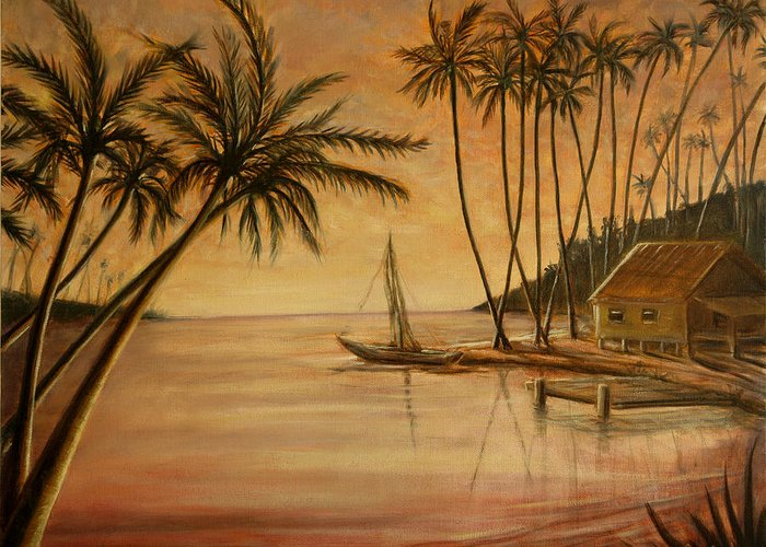 Palm Greeting Card featuring the painting Tropical Lagoon by Lance Anderson