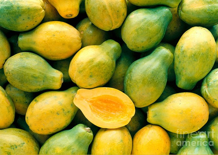 Arrange Greeting Card featuring the photograph Tropical Papayas by Greg Vaughn - Printscapes