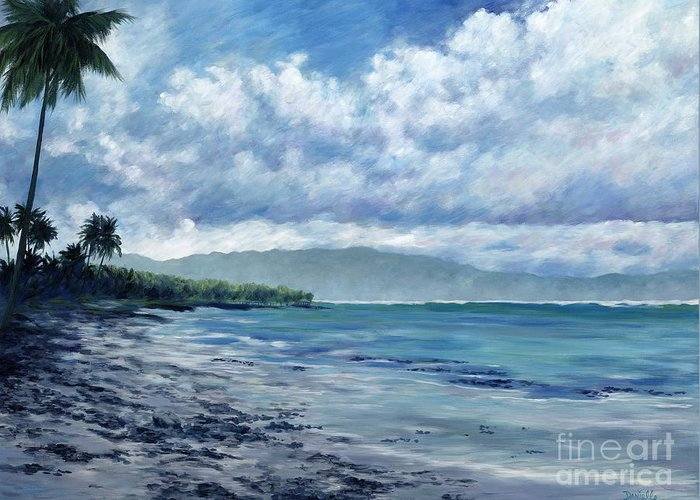 Seascape Greeting Card featuring the painting Tropical Rain by Danielle Perry