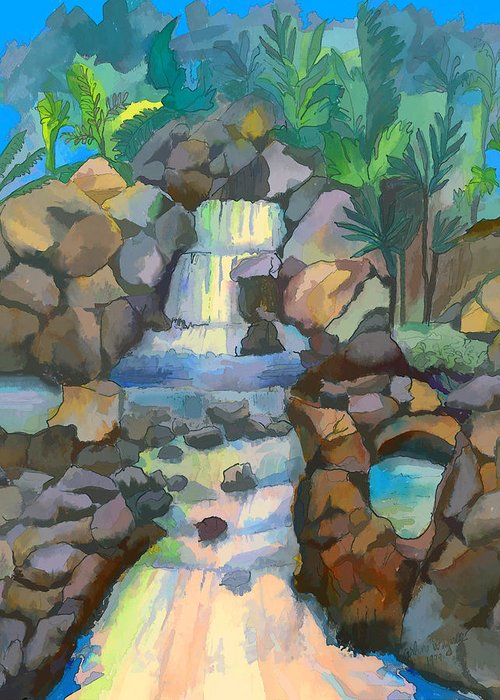 Waterfall Greeting Card featuring the painting Tropical Rainbow Waterfall by Arline Wagner