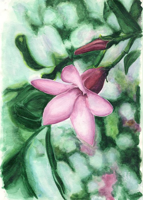 Nature Greeting Card featuring the painting Tropical Reflection by Helena Romanovsky