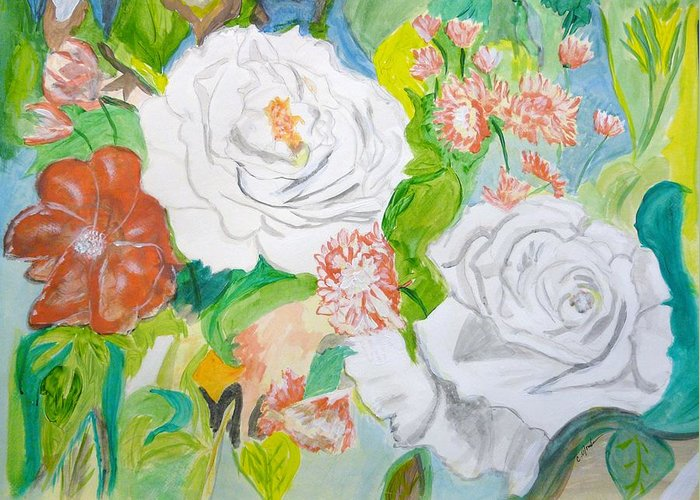 Roses Tropical Pink Blue Green White Flowers Flora Leaves Pattern Greeting Card featuring the painting Tropical Rose by Cathy Jourdan