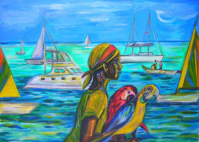 Travel Greeting Card featuring the painting Tropical Scene by Anna Duyunova