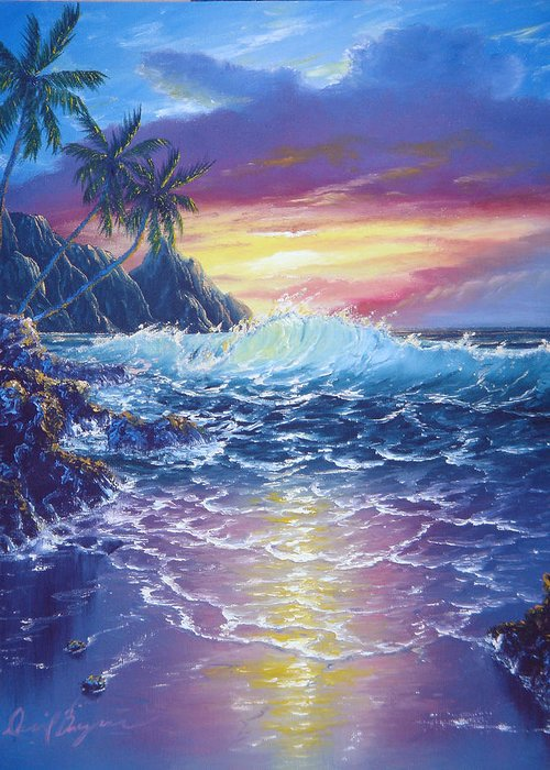 Dolphin Greeting Card featuring the painting Tropical Seascape by Daniel Bergren