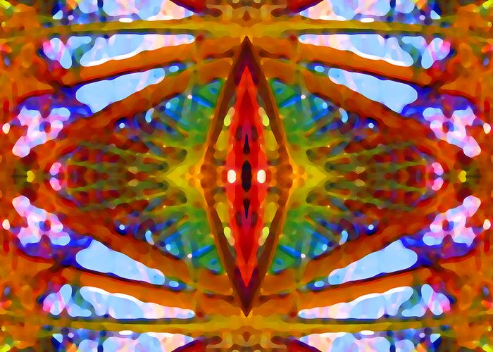 Abstract Greeting Card featuring the painting Tropical Stained Glass by Amy Vangsgard