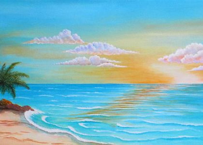 Sunrise Greeting Card featuring the painting Tropical Sunrise by Carol Sabo
