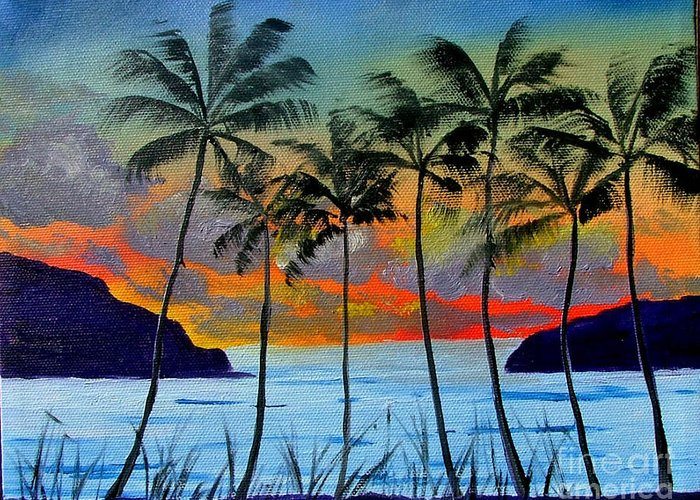 Sunset Greeting Card featuring the painting Tropical Sunset by Inna Montano