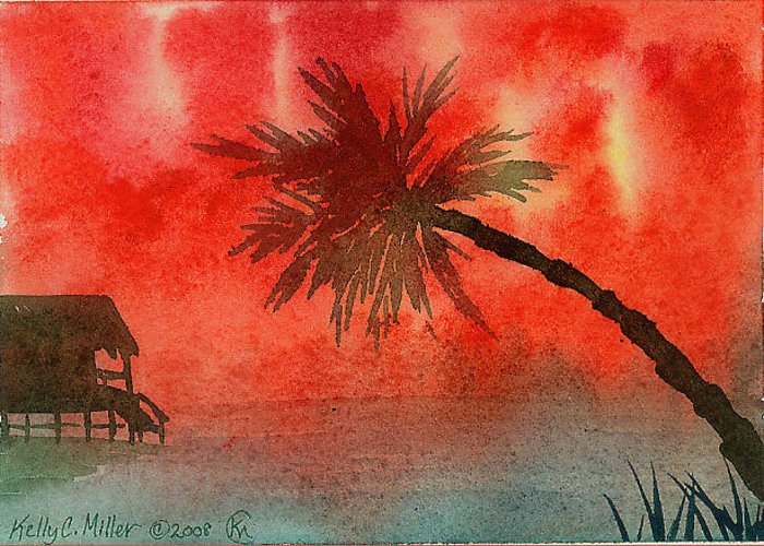Tropical Greeting Card featuring the painting Tropical Sunset by Kelly Miller