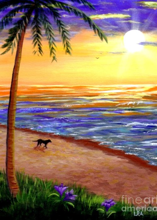 Tropical Greeting Card featuring the painting Tropical Sunset by Lisa Adams