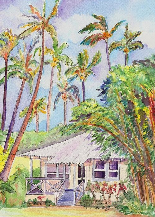Kauai Greeting Card featuring the painting Tropical Waimea Cottage by Marionette Taboniar