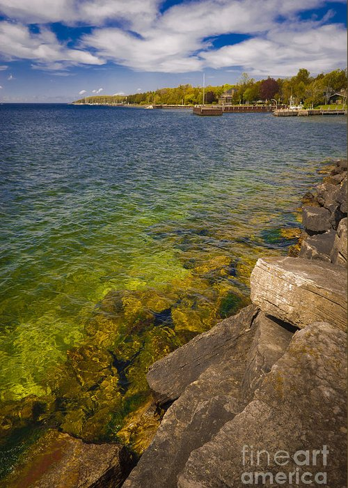 Door County Greeting Card featuring the photograph Tropical Waters of Door County Wisconsin by Ever-Curious Photography