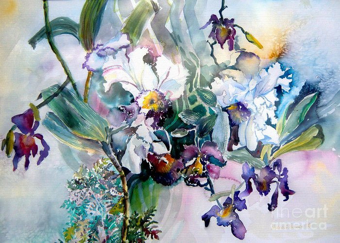 Orchids Greeting Card featuring the painting Tropical White Orchids by Mindy Newman
