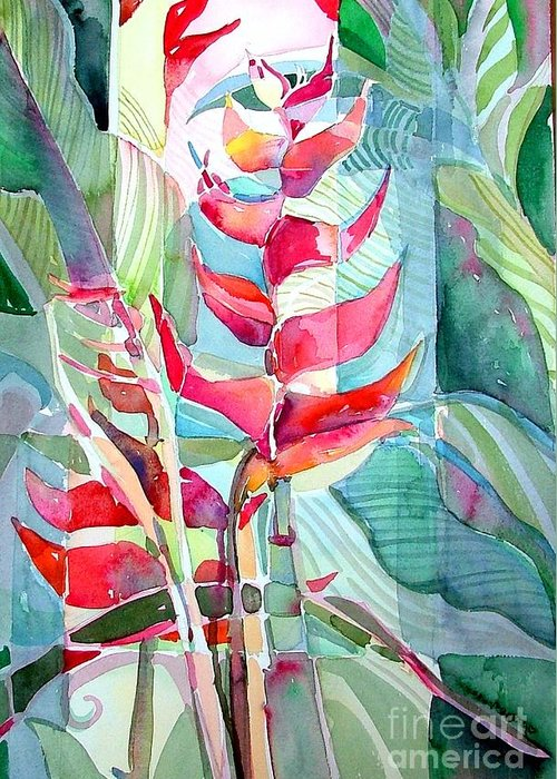 Landscape Greeting Card featuring the painting Tropicana Red by Mindy Newman