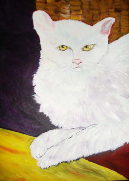 Cats Greeting Card featuring the painting Trouble by Terry Lash