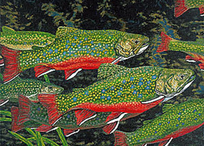 Art Greeting Card featuring the painting Trout Art Brook Trout Fish Artwork Giclee Wildlife Underwater by Patti Baslee