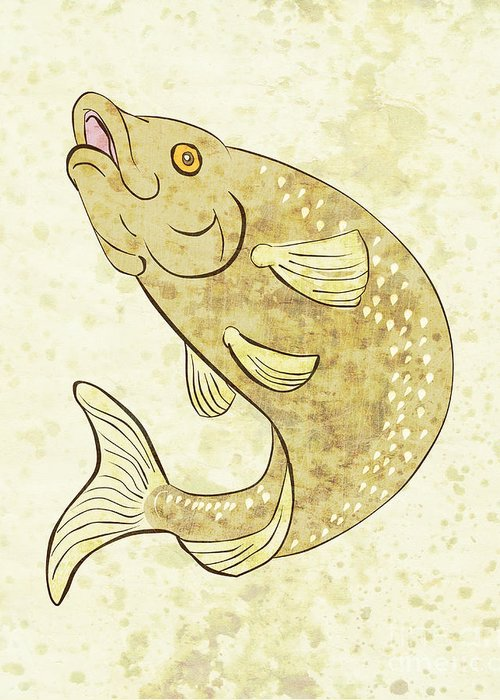 Trout Greeting Card featuring the digital art Trout Fish Jumping by Aloysius Patrimonio