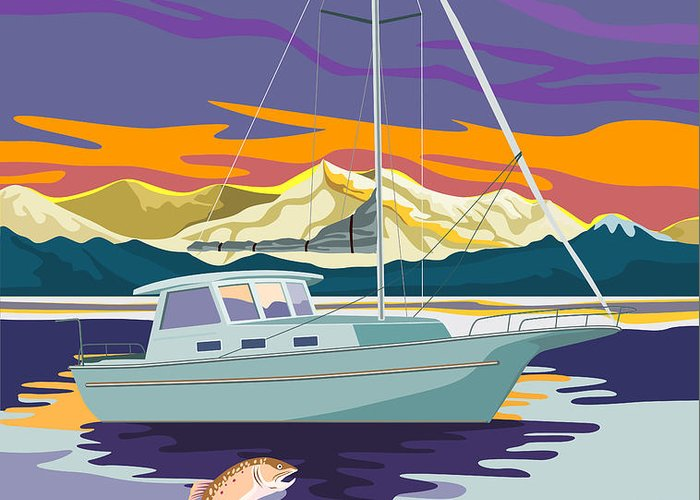 Trout Greeting Card featuring the digital art Trout Jumping Boat by Aloysius Patrimonio