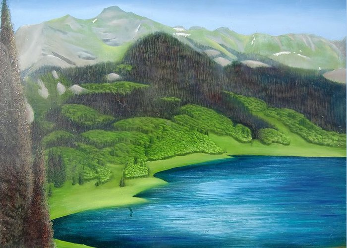 Elinoff Greeting Card featuring the painting Trout Lake North by Philipp Merillat
