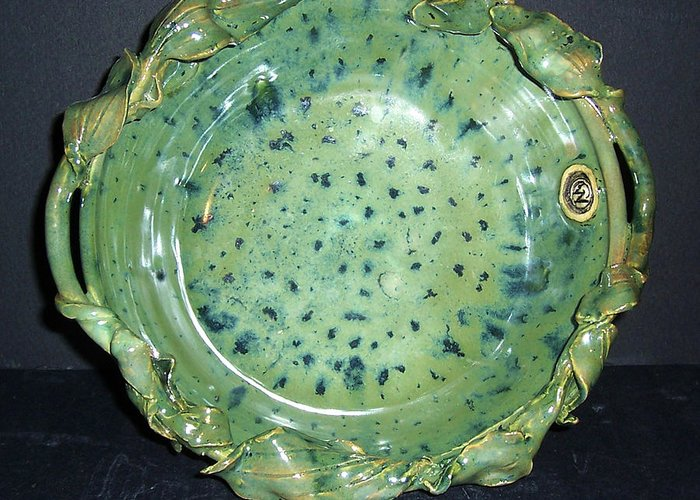 Green Greeting Card featuring the ceramic art Trout Pattern Glaze Bowl With Leaves by Carolyn Coffey Wallace