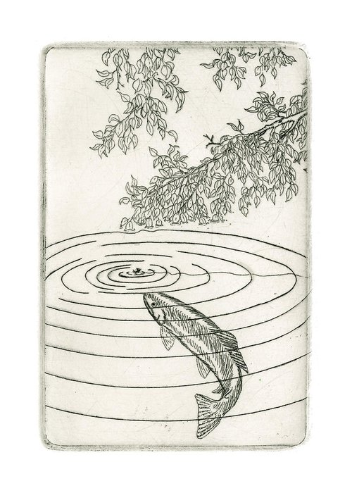 Charles Harden Greeting Card featuring the drawing Trout Rising To Dry Fly by Charles Harden