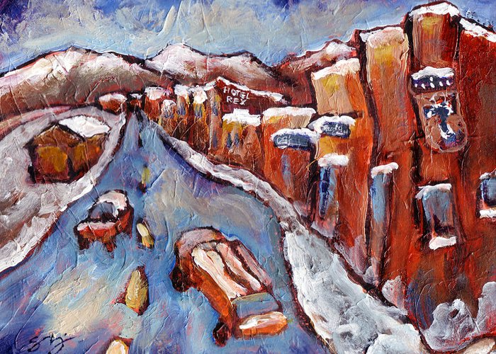 Truckee Greeting Card featuring the painting Truckee First Snow by Sara Zimmerman