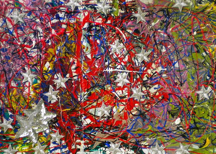 Red White And Blue Greeting Card featuring the painting True American Colors by Dylan Chambers