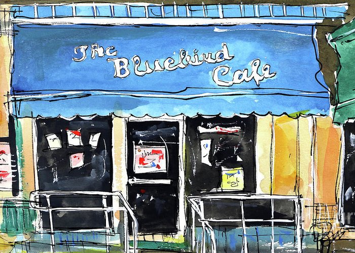 Bluebird Cafe Greeting Card featuring the painting True Blue Bird by Tim Ross
